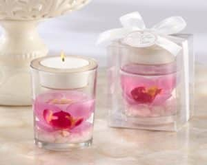 segnaposto con vaso trasparente e candela